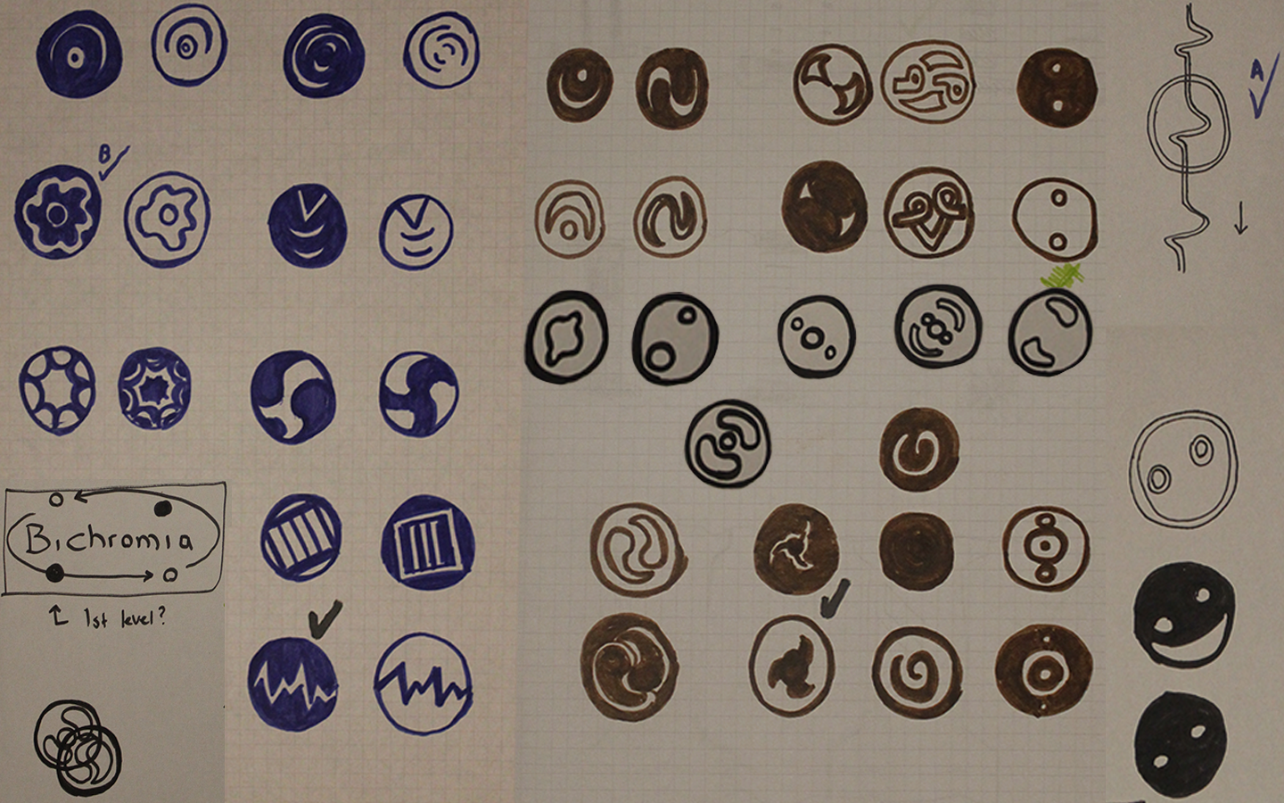 Early character icon designs for Bichromia
