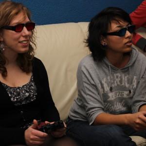 Two girls playing Bichromia
