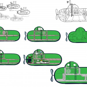 Various submarine interior designs