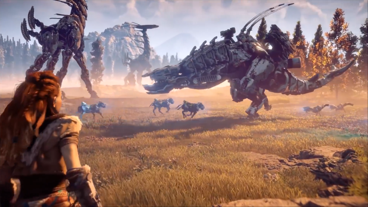 A robot encounter in Horizon Zero Dawn